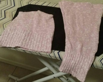 Pink and Silver Hat and Leg Warmer Set
