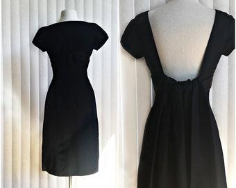 Vintage 50s black cocktail dress/ Nathan & Strong taffeta hourglass dress/ MOD LBD/ formal black dress/ watteau back/ waterf