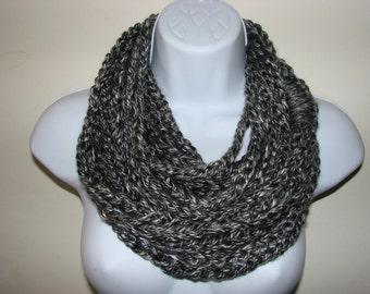 Gray black infinity scarf, grey chain scarf, loop scarf, circle scarf, indie scarf, eternity scarf, crochet infinity scarf, knit cowl