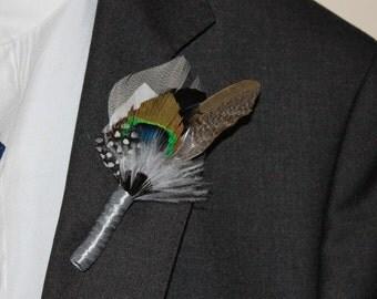 Buttonhole,Feather Boutonnière,men accessories , Wedding Boutonnieres, Groom