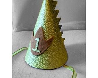 Dino birthday hat, first birthday hat, boys birthday hat