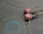 Rustic Rodhonite earrings n77 - bohemian . ball stone . stone dangle . earthy earrings . minimalist . solid copper wires . delicate earrings