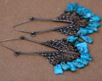 Rustic Large Turquoise Hoops earrings n. 122 -  Bohemian Tribal Hoops Earrings . Solid Copper . Artisan Triangular Hoops . Turquoise Stones