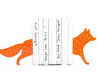 Metal Bookends Reading Fox Woodland theme decor // Housewarming present // Shelf Children's Room Decor // modern home decor // Free Shipping