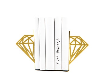 Metal bookends - Diamonds - (Golden edition) // modern home decor // geometry inspired design // housewarming gift // FREE SHIPPING