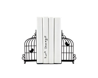 Metal Bookends  -Birdcage- Unique book holders for modern home // housewarming / christmas gift // children's room decor // FREE SHIPPING