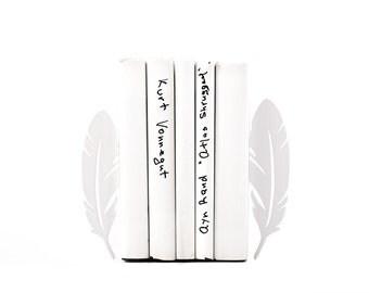 Metal Bookends Feathers // Modern Home Bookshelf Decor // Houswarming Gift // Christmas Present // Free Shipping Worldwide