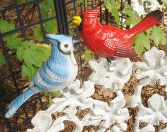 Pair Vintage Clip On Bird Garden Ornaments Original Paint Bird Bath Pot Sitters Cardinal Blue Jay Ceramic Pottery