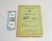1937 Instruction Book International Harvester IH Model D-50, Incl. Illust. & Parts List, Original Manual