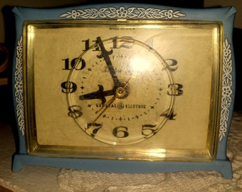 General Electric Alarm Clock Bedside Blue Nostalgic Vintage