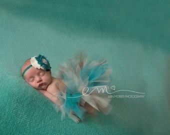 Newborn tutu, Baby tutu, Baby tutu set, teal tutu set, Photography prop, newborn tutu set, baby photo prop, Tutu set, baby photography prop
