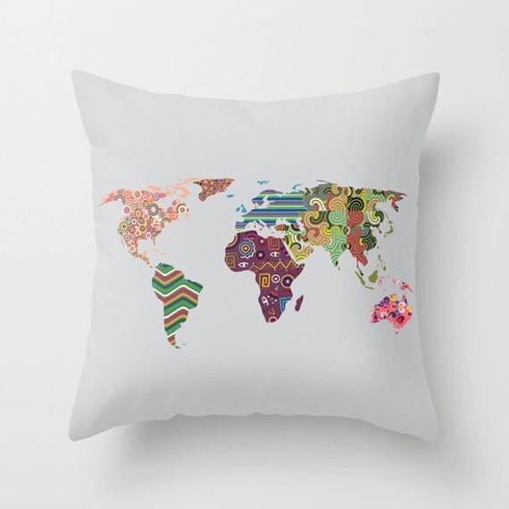 World Map Pillow, World Map Decorative Throw Pillow Case, Cute World Map Pillow,  World Map Decor, World Map Print