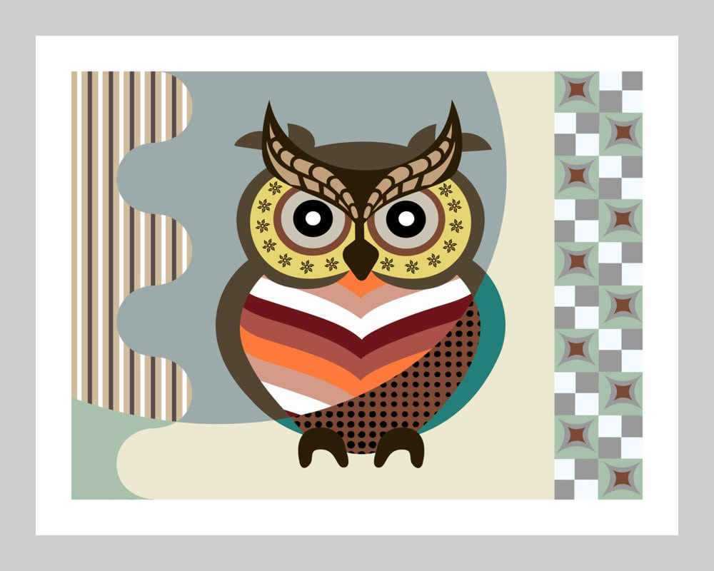 owl wall art print wise owl owl wall decor poster owl art work owl wall hanging bird art. Black Bedroom Furniture Sets. Home Design Ideas