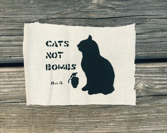 Cats Not Bombs //  Back Patch //  Feline // Punk Patch // Food Not Bombs