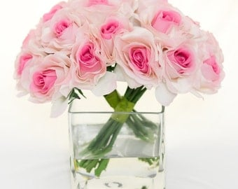 Real Touch Light Pink Roses Arrangement using Artificial Faux Silk Flowers for Home Decor