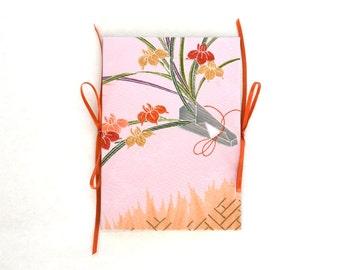 5x7 Photo Album, Scrapbook Album, Wedding Guestbook, Upcycled Kimono Book, Accordion Album. Spring flowers