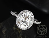 Federella 10x8mm 14kt White Gold Oval FB Moissanite and Diamond Halo Engagement Ring (Other metals and stone options available)