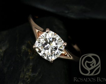 Khaleesi 7.5mm 14kt Rose Gold Cushion F1- Moissanite Split Cathedral Solitaire Engagement Ring (Other metals and stone options available)