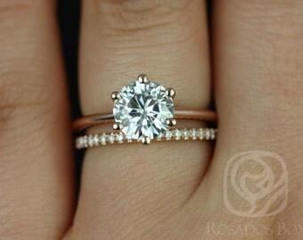 Rosados Box Skinny Webster 7.5mm & Kimberly 14kt Rose Gold F1- Moissanite Six-Prong Webbed Wedding Set