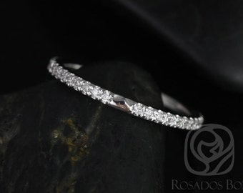 Rosados Box 14kt White Gold Matching Band to Eloise 8mm Size Diamonds ALMOST Eternity Band