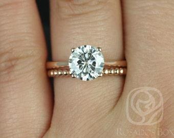Rosados Box Skinny Flora 8mm & Buddha Beads 14kt Rose Gold Round F1- Moissanite and Diamonds Wedding Set