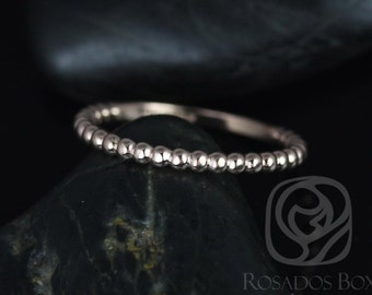 14kt Rose Gold Petite Buddha Beads Plain Wedding Band (Other Metals Options Available)