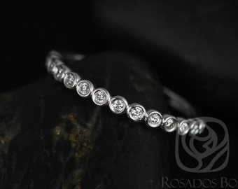 Ready to Ship Rosados Box Petite Bubbles 14kt YELLOW Gold Bezel Round Diamonds HALFWAY Eternity Band