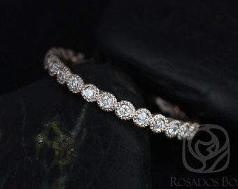 Rosados Box Petite Bubbles 14kt Rose Gold WITH Hand Milgrain Beading Diamond FULL Eternity Band