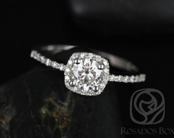 Rosados Box Barra 1/2ct 14kt White Gold Round Diamond Cushion Halo Engagement Ring (Other Stone and Metals Available)