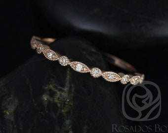 Gwen/Ultra Petite Bead & Eye 14kt Rose Gold Vintage WITH Hand Milgrain Diamonds HALFWAY Eternity Band (Available in other metals)