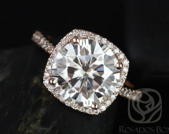 Rosados Box Barra 10mm 14kt Rose Gold Round F1- Moissanite and Diamond Cushion Halo Engagement Ring