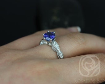 Beatrice 7mm 14kt White Gold Round Sapphire and Diamonds Cathedral Leaves  Engagement Ring (Other metals and stone options available)