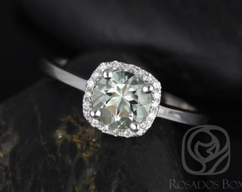 Rosados Box Bella 6mm 14kt White Gold Round Green Amethyst and Diamonds Cushion Halo Engagement Ring