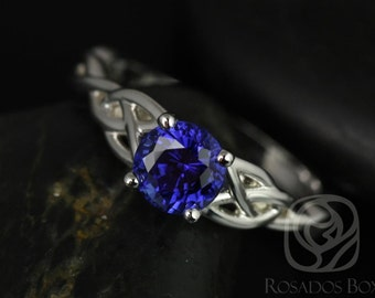 Rosados Box Cassidy 6mm 14kt White Gold Round Blue Sapphire Celtic Knot Engagement Ring