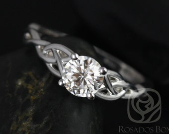 Rosados Box Cassidy 6mm 14kt White Gold Round F1- Moissanite Celtic Knot Engagement Ring