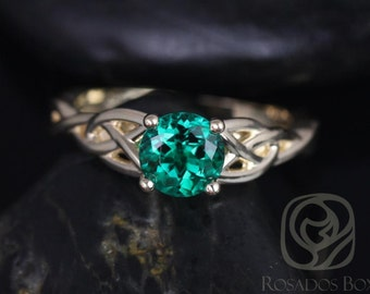 Rosados Box Cassidy 6mm 14kt Yellow Gold Round Emerald Celtic Knot Engagement Ring