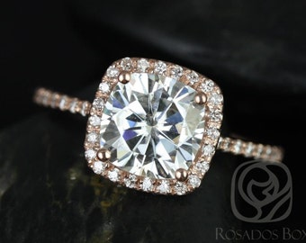 Rosados Box 7.5mm 14kt Rose Gold Cushion F1- Moissanite and Diamond Halo Engagement Ring