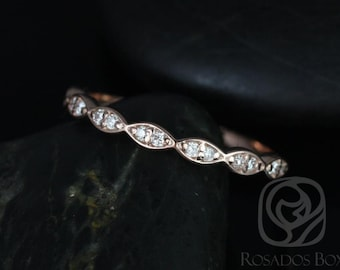 14kt Matching Band to Christie/Katya/Sunny/Samantha WITHOUT Milgrain Diamond Leaves HALFWAY Eternity Band (Other Metals Options Available)
