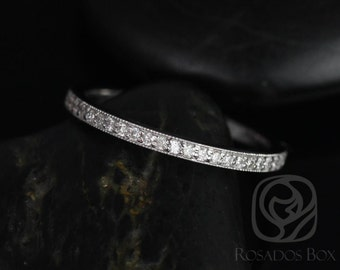 Victoria 14kt White Gold Classic Pave WITH Milgrain Diamonds HALFWAY Eternity Band (Other Metals and Stone Options Available)