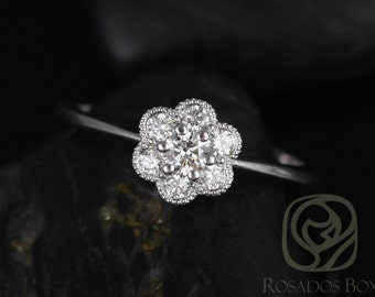 Daisy 14kt White Gold WITH Milgrain Diamond Flower Cluster Ring (Other Metal Options Available)