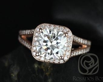 Rosados Box Diana 8mm 14kt Rose Gold Cushion F1- Moissanite and Diamonds Halo Split Shank Engagement Ring