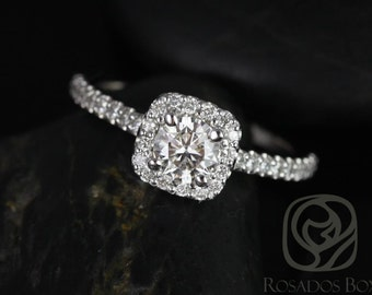 Mikena 1/2ct 14kt White Gold Diamond Cushion Halo Engagement Ring (Other metals and stone options available)
