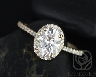 Rosados Box Rebecca 8x6mm 14kt Yellow Gold Oval F1- Moissanite and Diamond Halo Engagement Ring