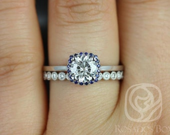 Rosados Box Bella 6mm & Petite Bubbles 14kt F1- Moissanite ,Sapphire, Diamond Cushion Halo Wedding Set