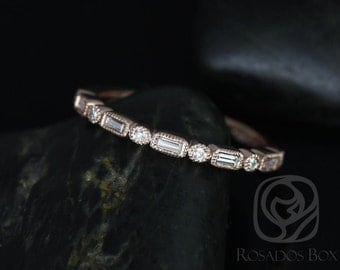Ivanna 14kt Rose Gold Round & Baguette Diamonds WITH Milgrain HALFWAY Eternity Band (Other Metals and Stone Options Available)