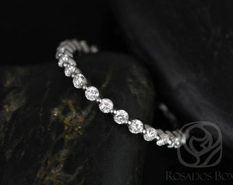 Petite Naomi/Petite Bubble & Breathe 14kt White Gold Diamonds ALMOST Eternity Band (Other Metals Available)