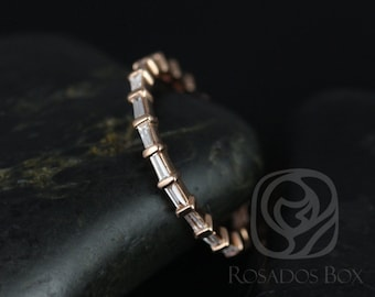 Baguettella 14kt Rose Gold Thin Horizontal Baguette Diamond FULL Eternity Band (Other Metals Available)