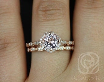 Katya 7mm 14kt Rose Gold Morganite and Diamonds Kite Cushion Halo WITHOUT Milgrain Wedding Set(Other metals and stone options available)