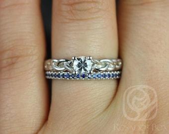 Rosados Box Prudence 5mm & Kierra 14kt White Gold Round White and Blue Sapphire Braided Wedding Set