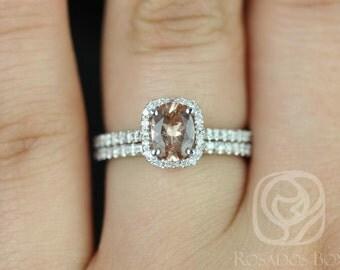Rosados Box Romani 7x5mm 14kt White Gold Oregon Sunstone and Diamonds Cushion Halo Wedding Set